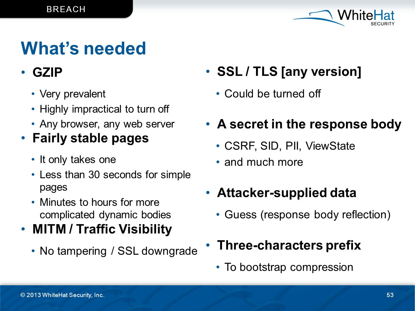 What's needed GZIP SSL / TLS [any version]